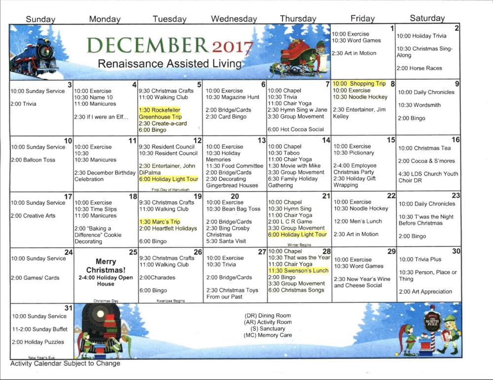 December 2017 Activities