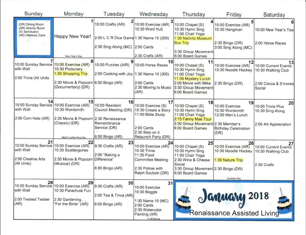 Activity Calendar January 2018