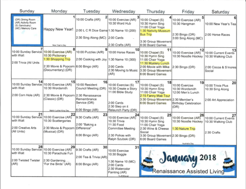 Past Months Activities Calendars Renaissance Assisted Living
