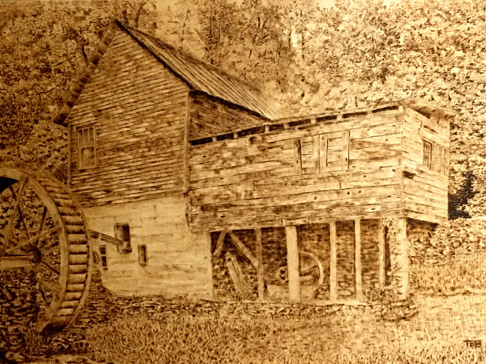 Tumlins Mill     Tom Bianchi    Pyrography