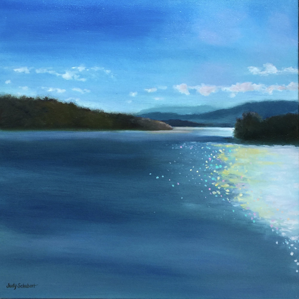 """Winnipesaukee Series #2"", an oil painting by Judy Schubert"