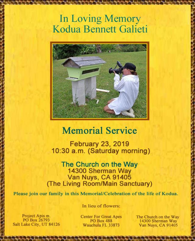 Kodua Bennett Galieti Memorial Service (Printable)    tribute and telling the bees - about kodua galieti