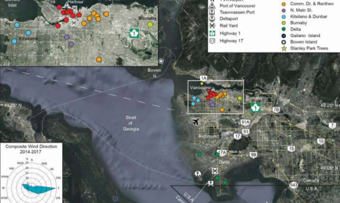 Map of Metro Vancouver, featuring locations of the sampled for this study and possible sources of manmade trace elements.