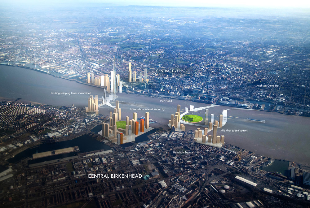 A new urban masterplan exploring land extensions to connect the two urban centre's of Liverpool and Birkenhead as one conurbation.