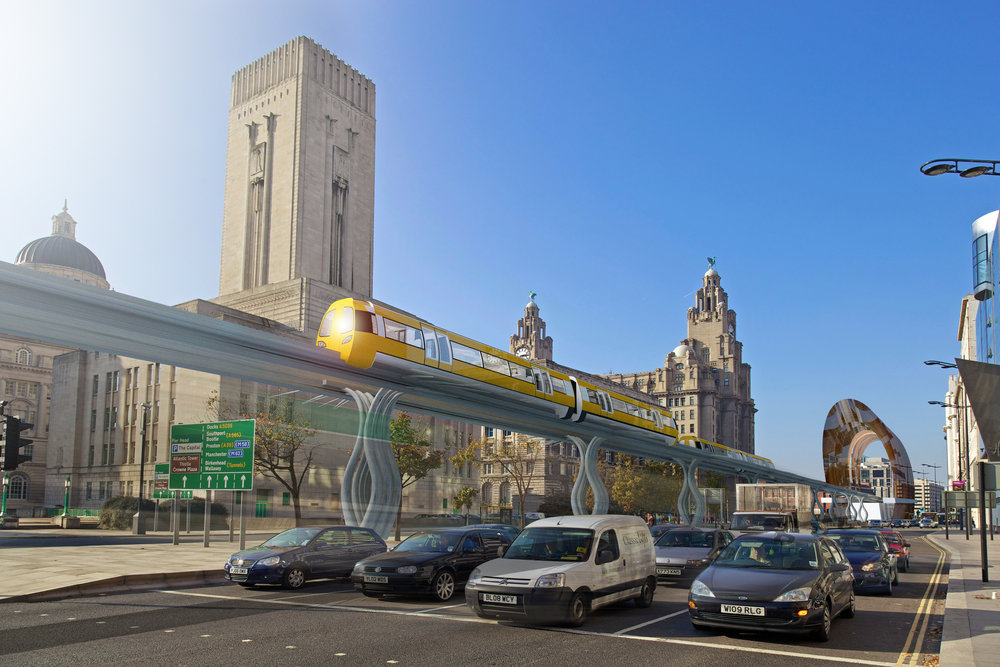A new Liverpool Overhead Railway passing the three graces?
