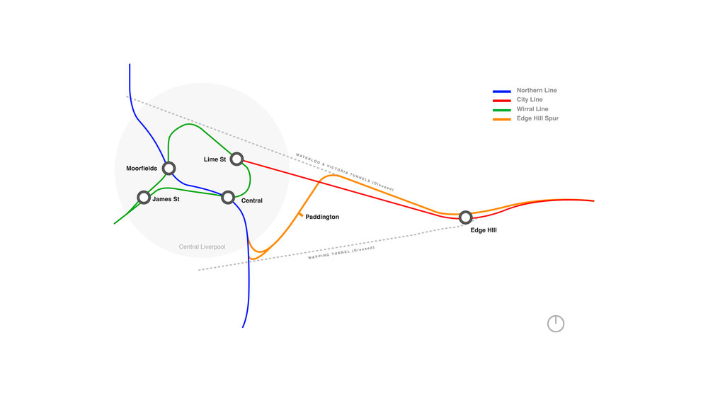 Alignment of possible Edge Hill Spur scheme.