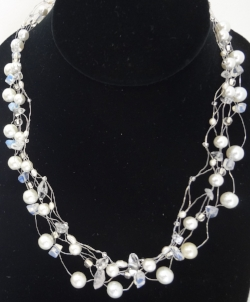 White Pearls and Lace Necklace -
