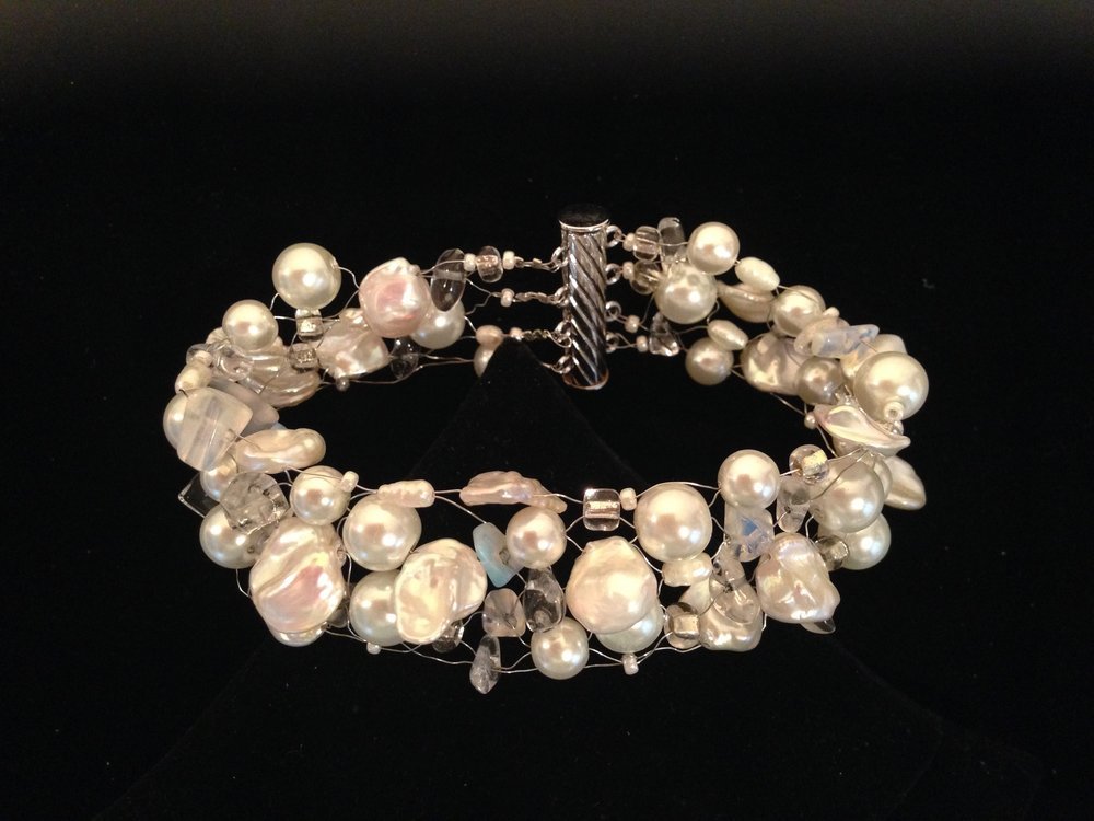 White Pearls and Lace Bracelet -