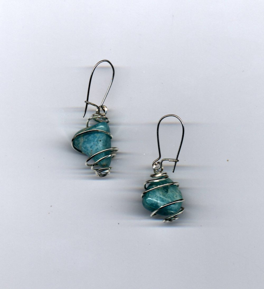 Amazonite Spiral Earrings