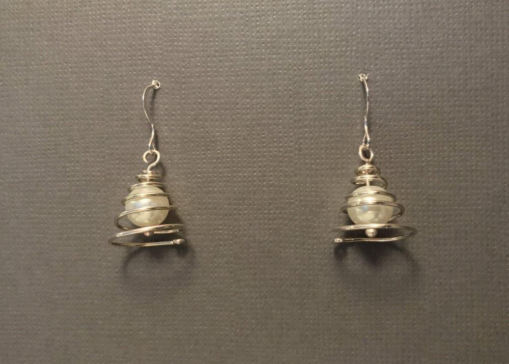 Pearl Christmas Tree Earrings