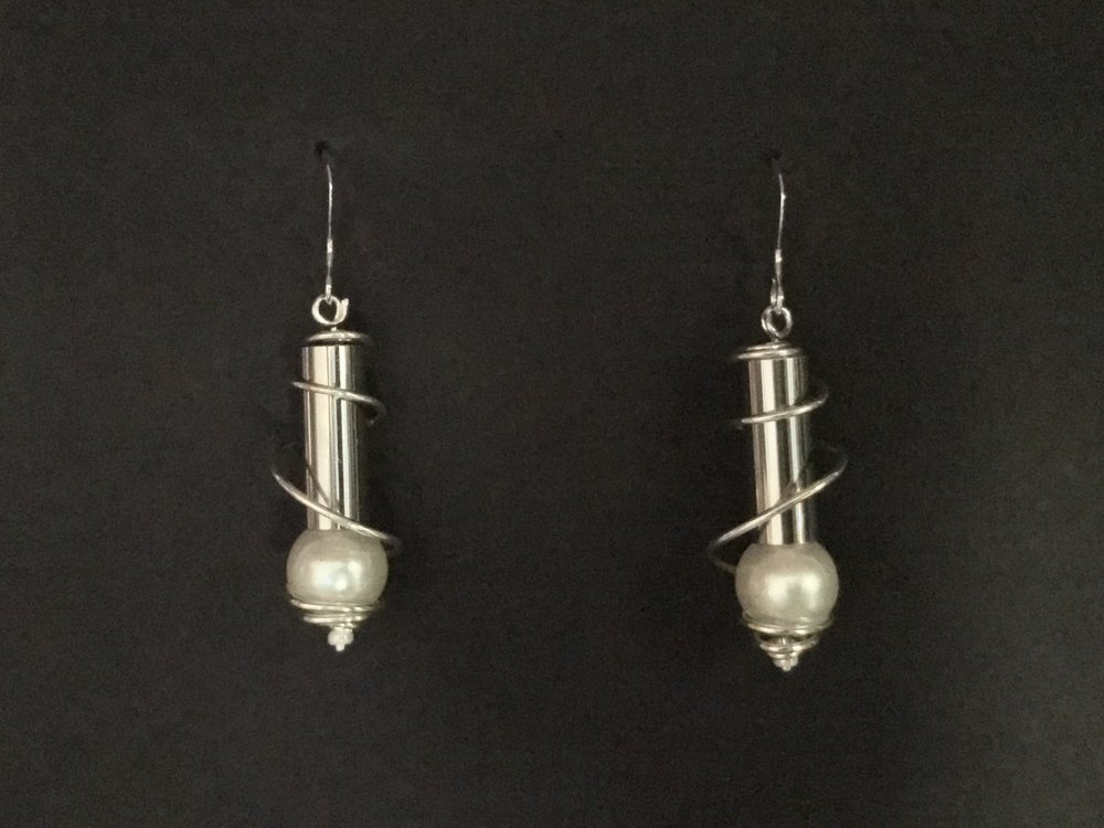 Spiral Cylinder and Pearl earrings