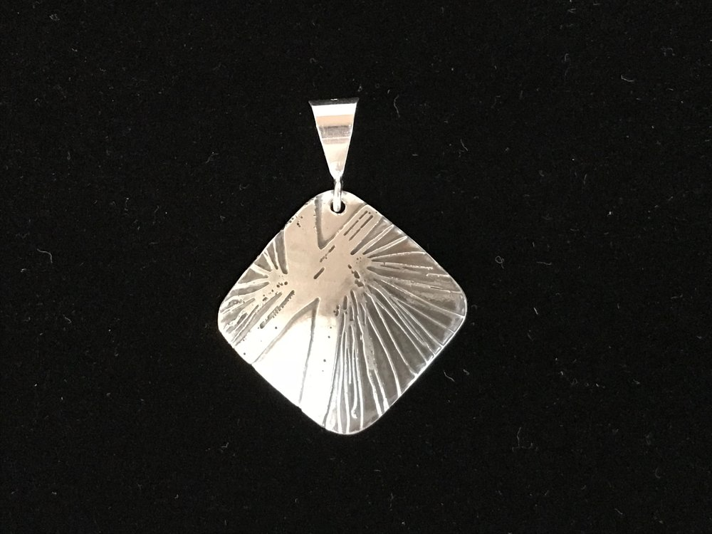 Etched Sterling Silver Necklace by Carole Shelton