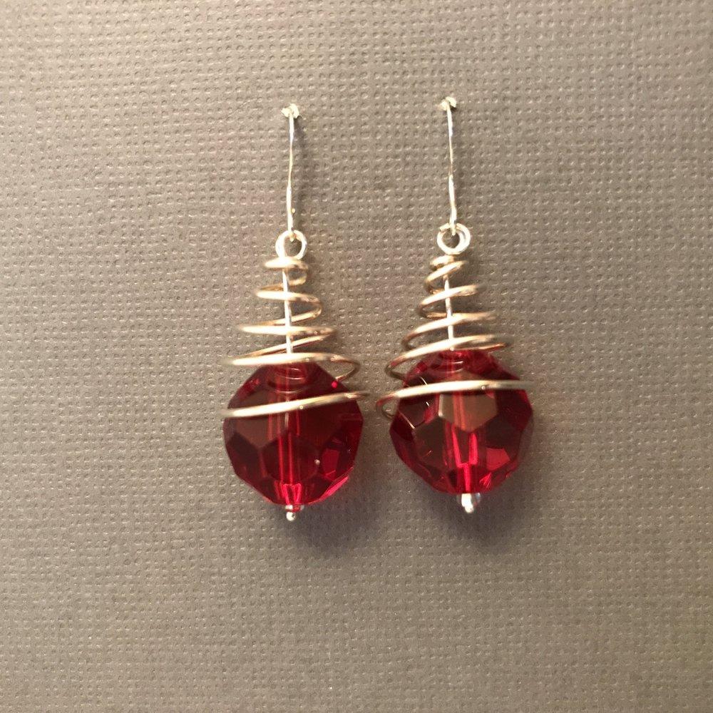 Red Christmas Tree Earrings