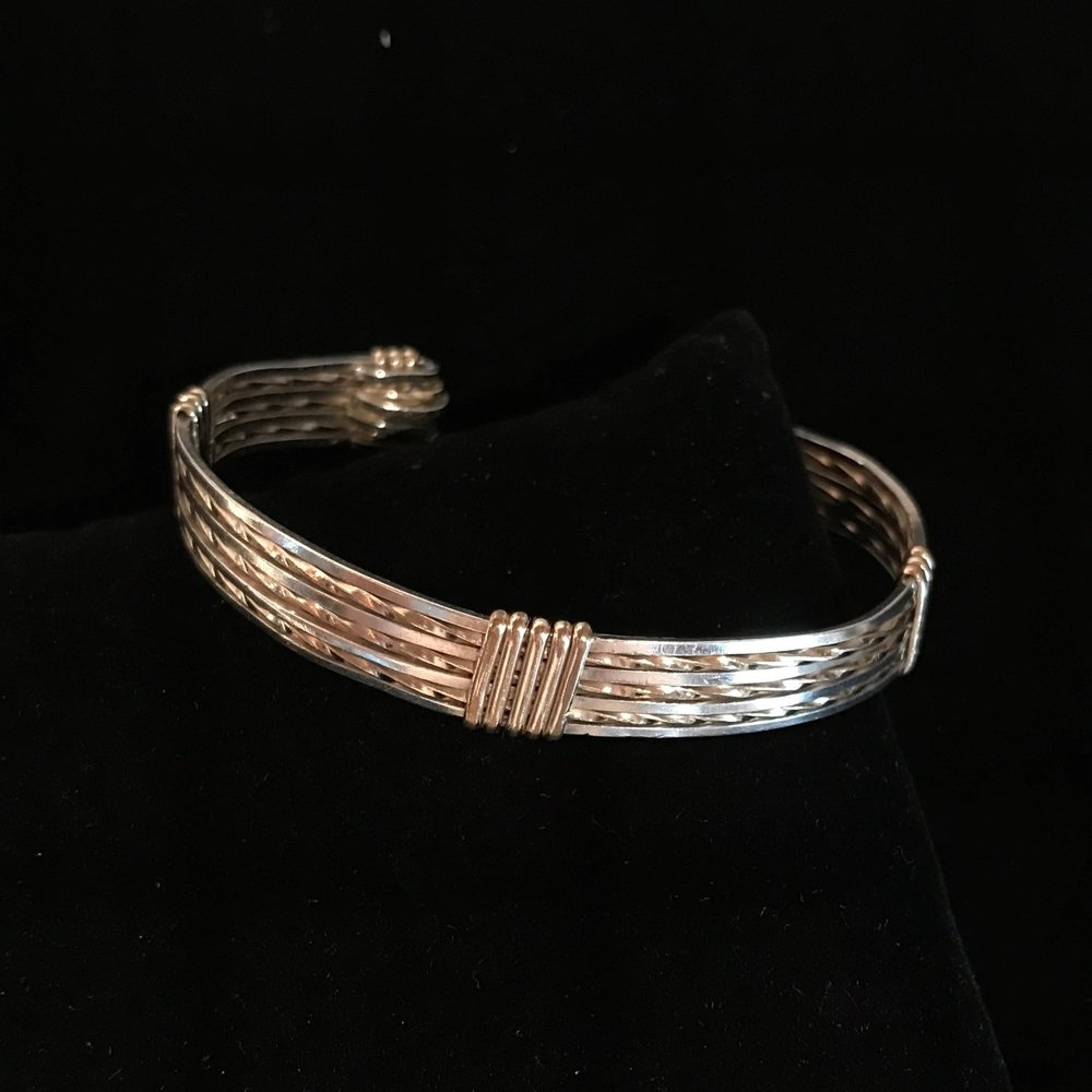 Men's Silver and Gold Cuff Bracelet
