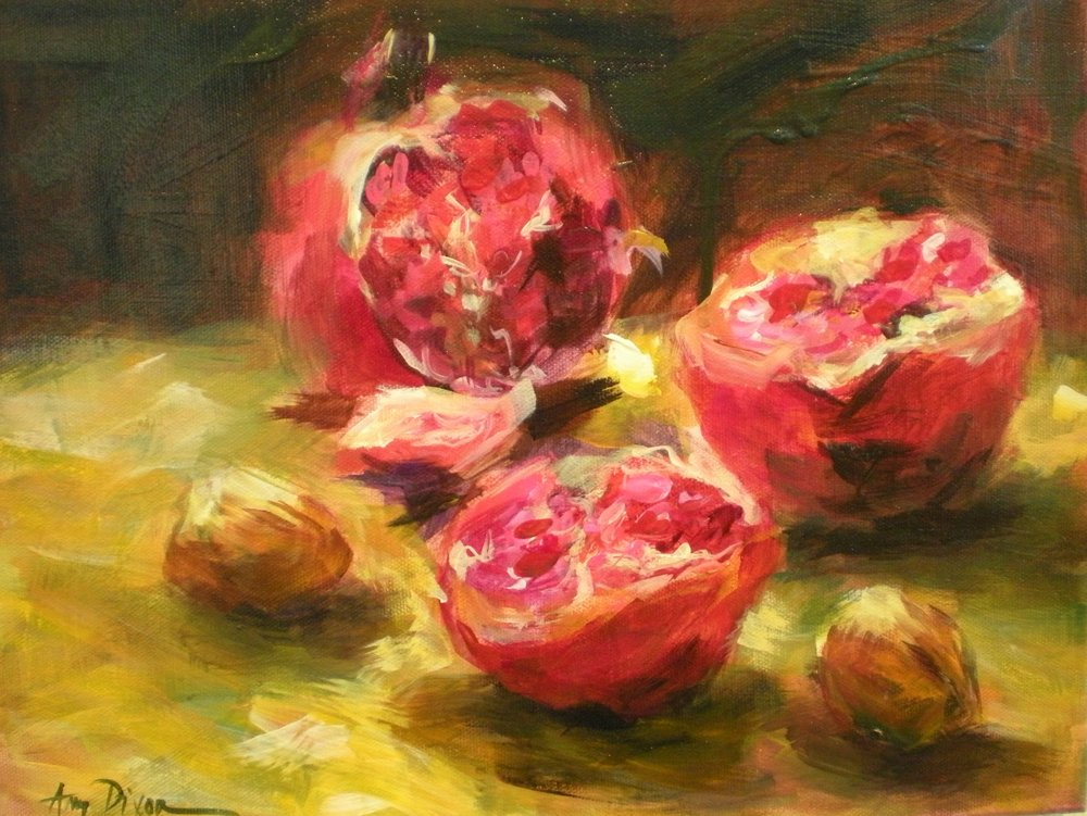 "Pomegranates 14"" X 18"" SOLD"