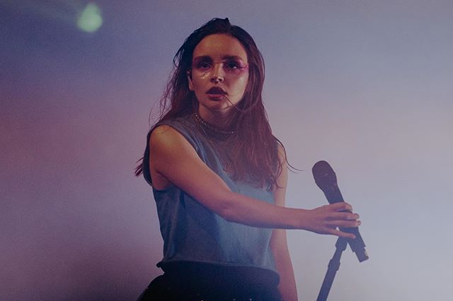 """i've been listening to """"here with me"""" all morning, so here's a few of @chvrches from their portland show in september 2018."""