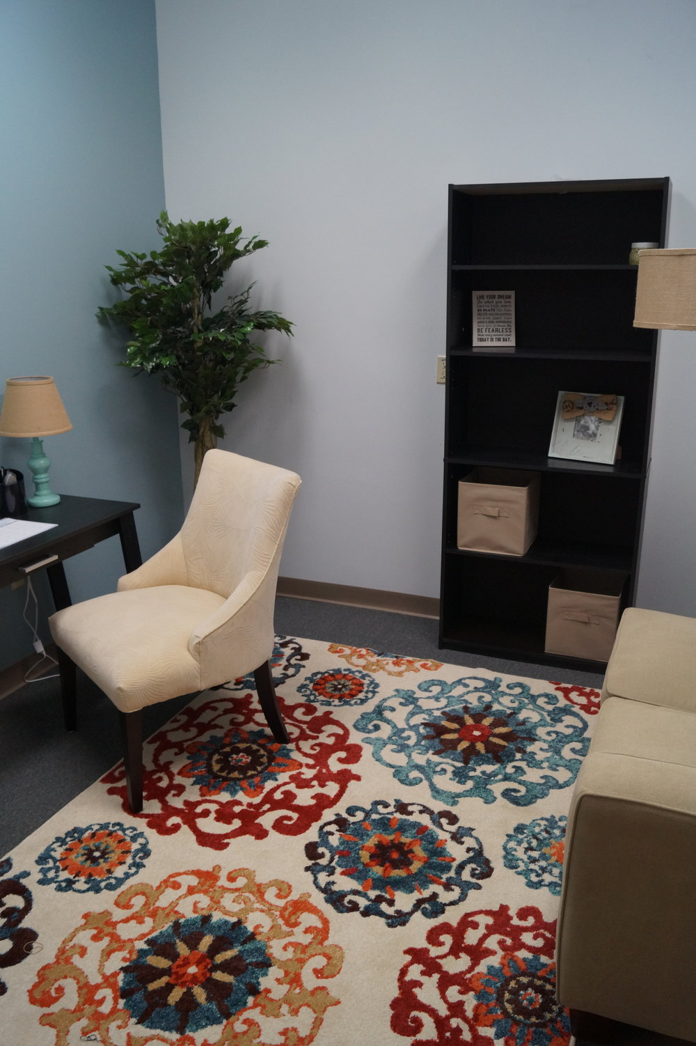 A reading nook at the Sunnyhill Independence Center