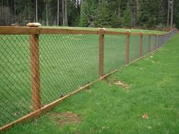 Black Chain Link with Wood Posts, Top and Bottom Rail
