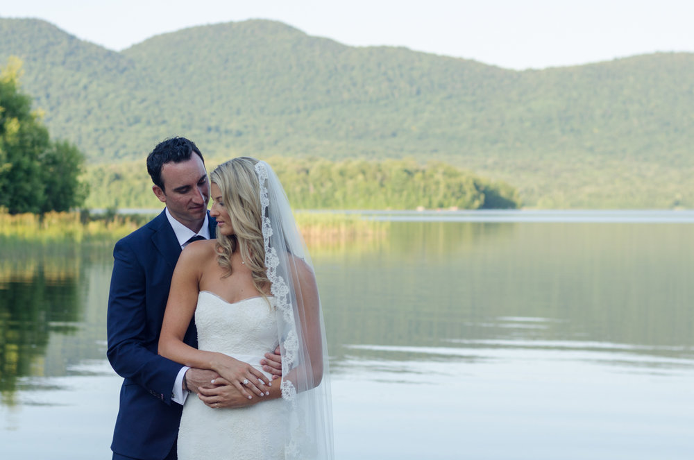 Bride and Groom at Mountain Top Inn lake