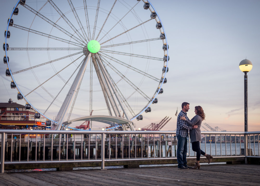 Seattle waterfront engagement photography
