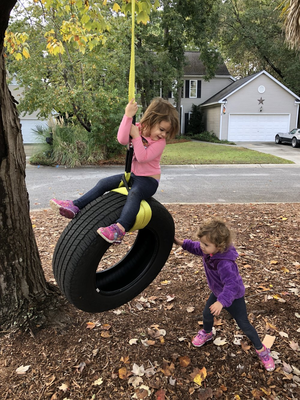 And best of all, Daddy made his girls a tire swing.
