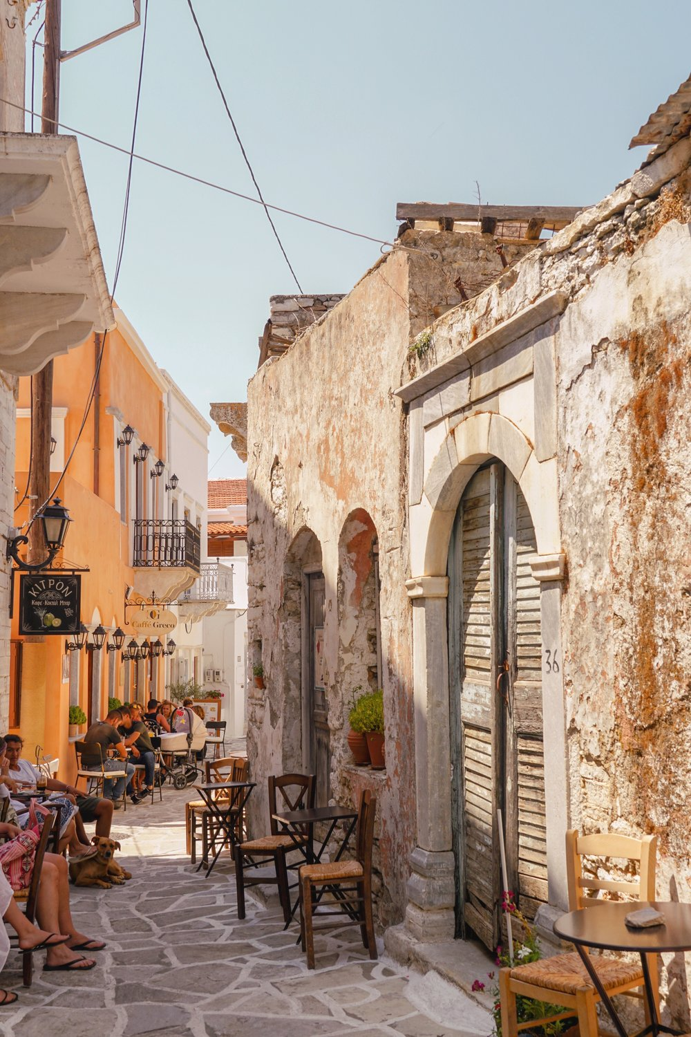 Halki has a much different feel from the traditional whitewashed architecture we're used to seeing in the Cyclades.