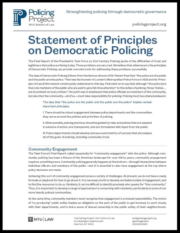 Read the full Statement of Democratic Policing Principles