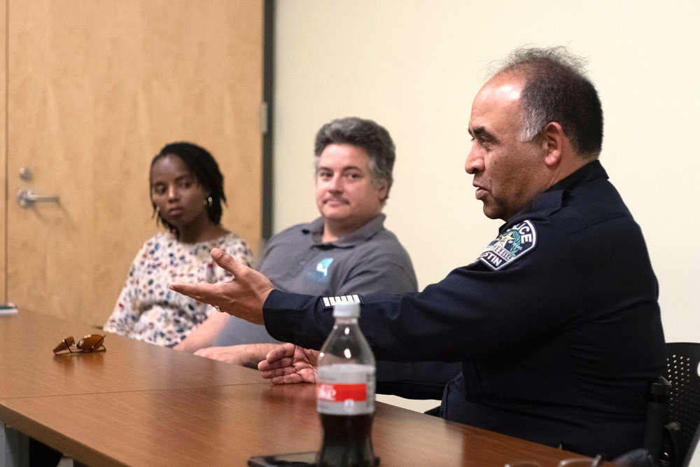 Paulette Blanc, Chief Data Officer at Measure Austin; Paul Quinzi, Chief Legal Officer at Measure Austin; Chris Vallejo; APD Lieutenant