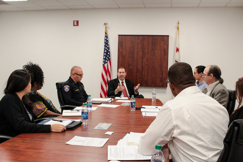 SPD Chief Eric Jones (center) and members of Policy Committee with Policing Project and National Police Foundation researchers