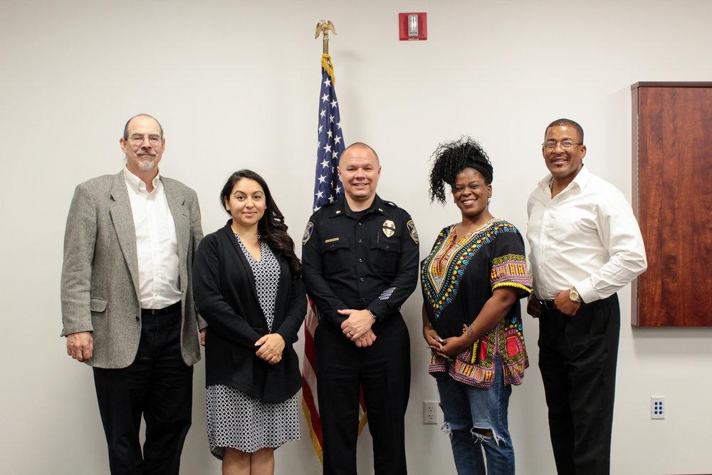 Policy Committee members Fred Shiel, Felicia Estrada, SPD Lt. Eric Kane, Tashante McCoy, Darius Williamson
