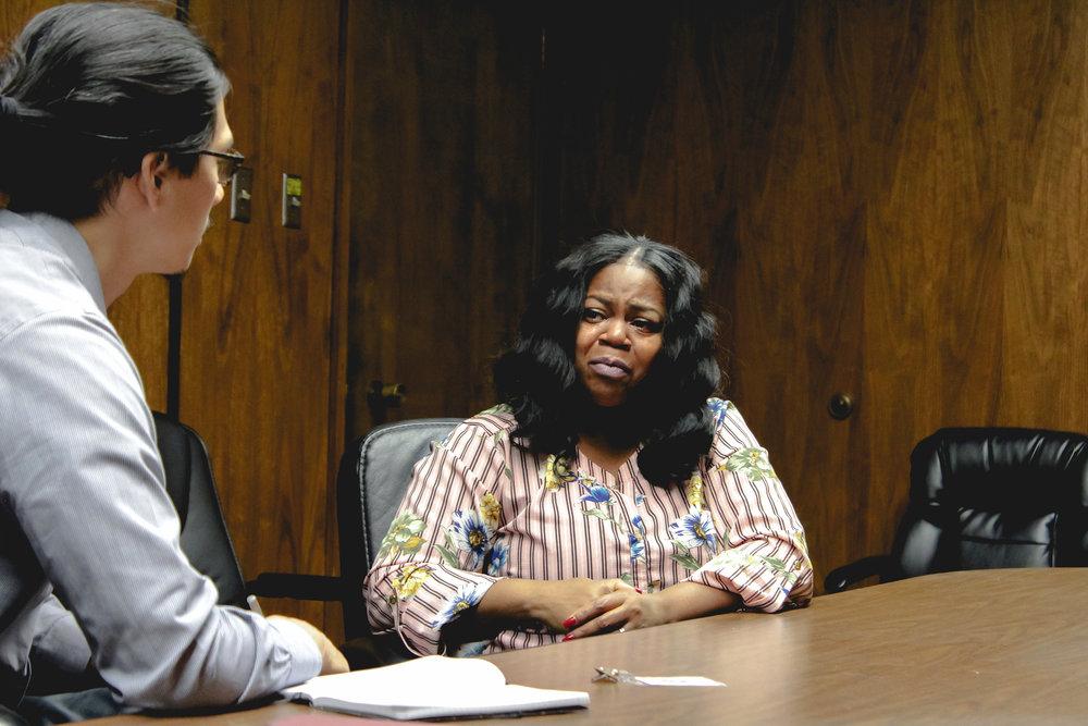Policing Project Senior Program Manager Brian Chen interviews community organizer Wilisha Beatty-Cherry