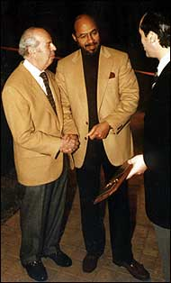Martin Blanck is recognized for his achievements by Mayor Dennis Archer at the Detroit Builders Expo in 1994.