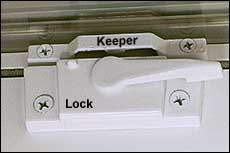 Window  locks  fasten into  keepers .