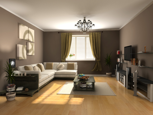 A living room with light shining through the windows' drapes and blinds.