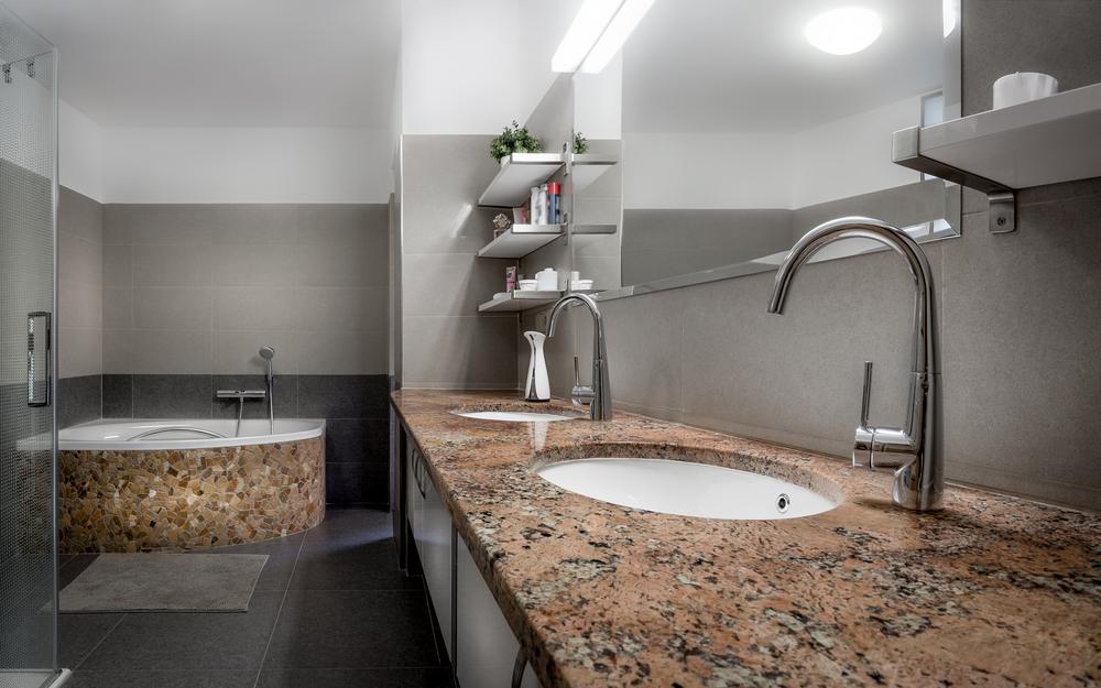Polished, contemporary bathroom design.
