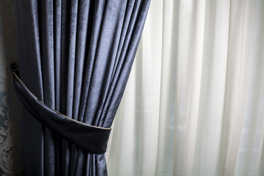 Velvet blue window drapes