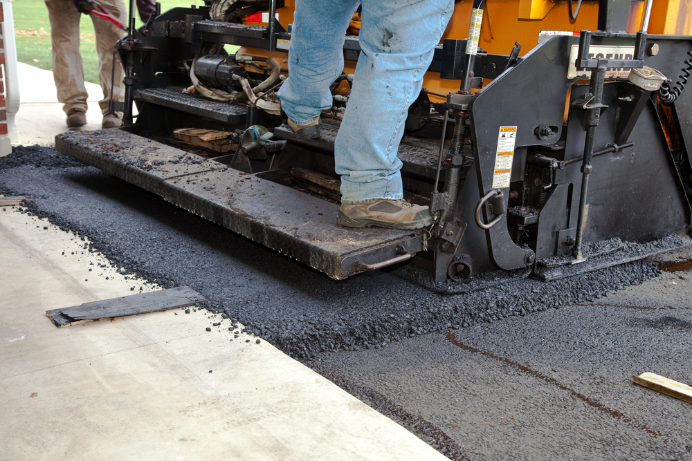 asphalt being laid down