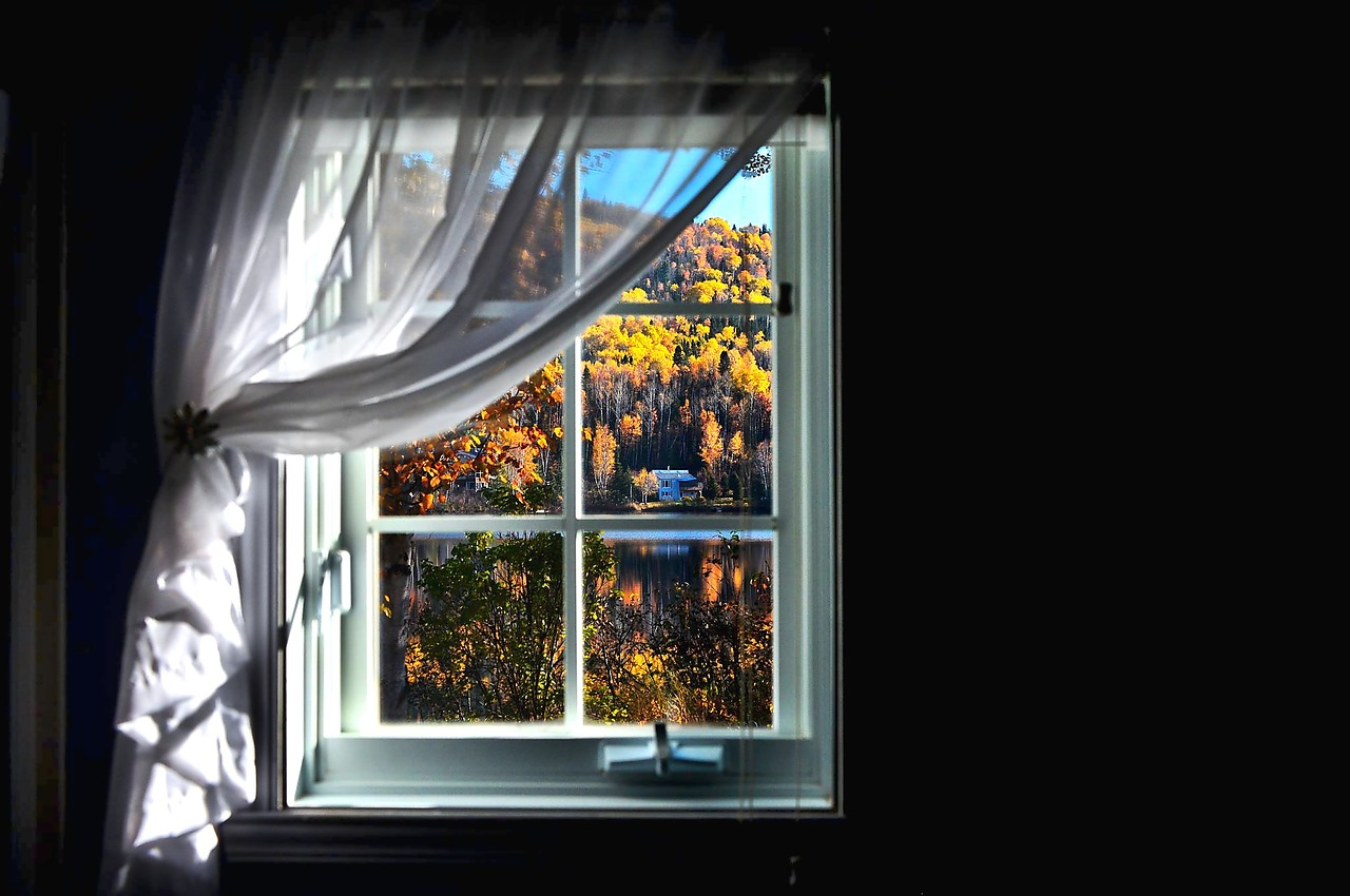 Decorated window in fall