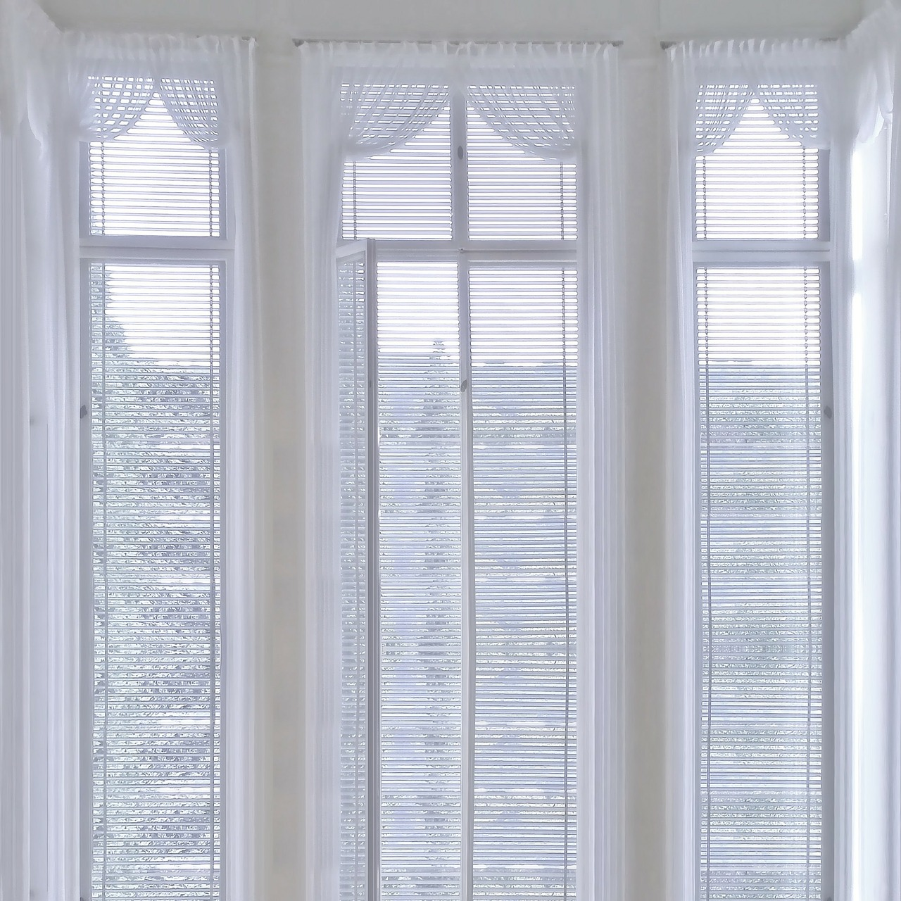 Window with treatments, blinds, and valances
