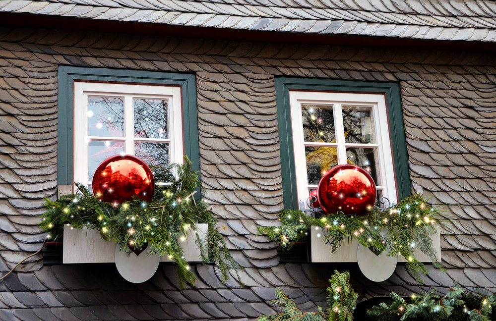Christmas Decorations On Windows On A Home