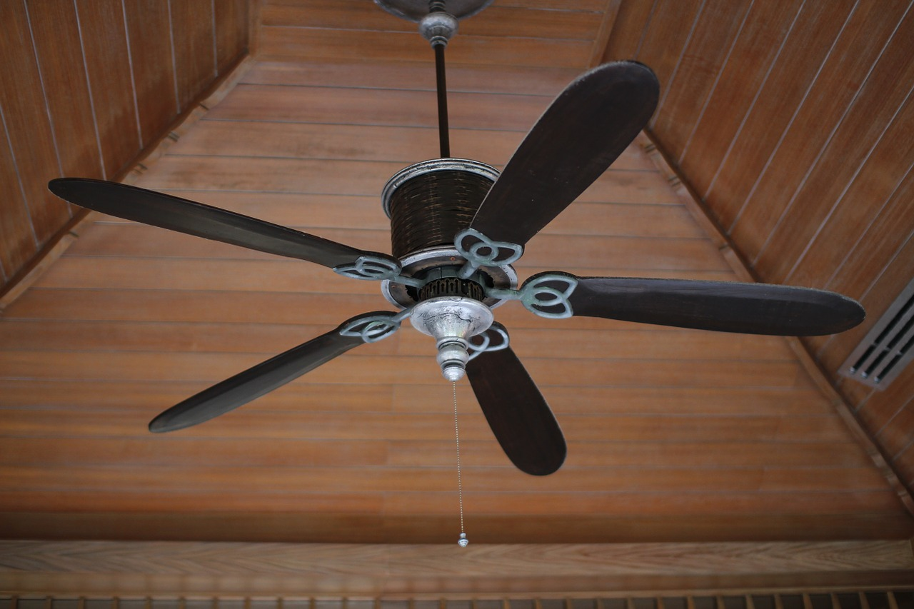 Electric fan on the ceiling of a home