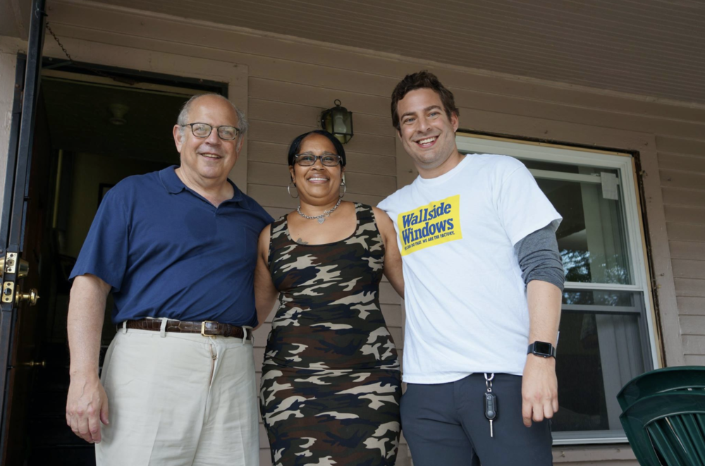 Stanford Blanck (left to right), Karen Wahls and Adam Blanck are pleased to be part of the 2017 Life Remodeled project. Wallside Windows installed new windows free of charge for Wahls and other homeowners earlier in July as part of this revitalization project.
