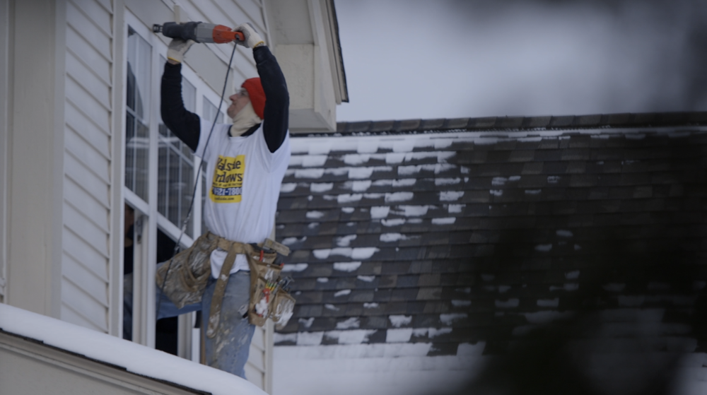 Wallside Windows works year-round to install our high-quality windows - yes even if it's snowing.
