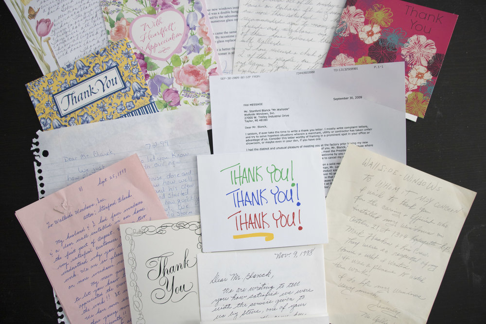 Over the years the notes of thanks and appreciation have poured into Wallside Windows from our customers. This is just a sample of a few of the handwritten letters we received - and keep.