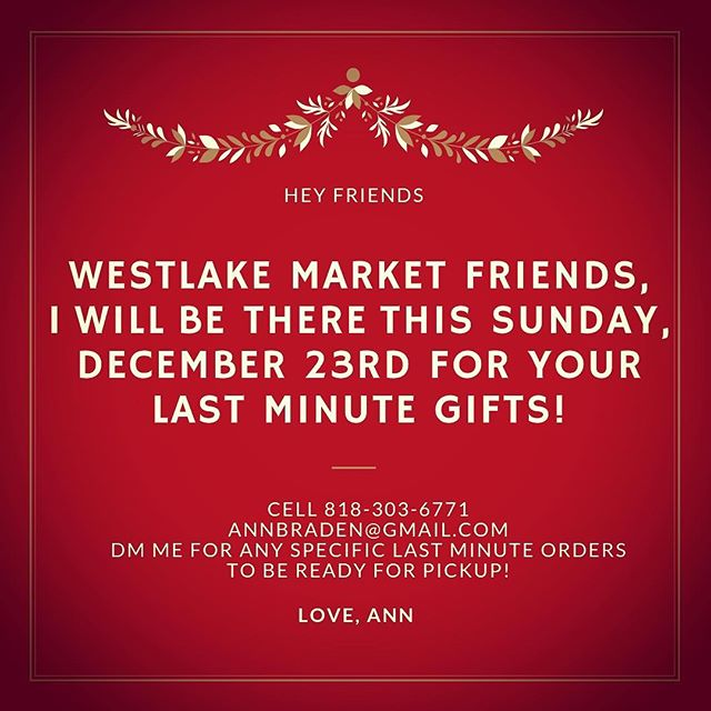 Westlake Friends! I'll be there this Sunday for your last minute gifts. If you want anything specific DM me so your order is ready for pickup! #westlake #westlakevillagefarmersmarket #farmersmarket #christmas #christmasgifts #localgifts #localchristmas #shoplocal #losangeles #rootdownriseupgrowlove #smallbusinesseveryday #smallbusiness #lastminutegifts #lastminuteshopping