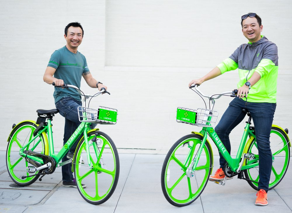LimeBike co-founders Brad Bao (Exec. Chairman) and Toby Sun (CEO)