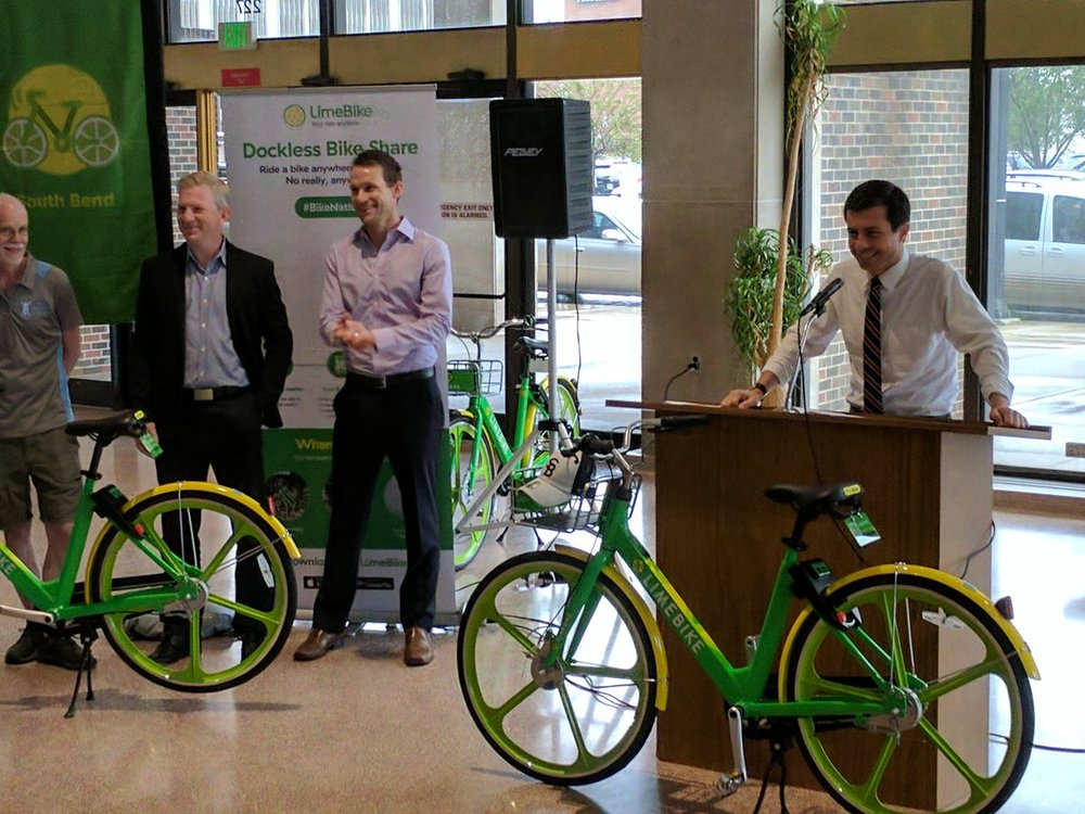 South Bend's Mayor Peter Buttigieg addressing the press and community leaders at the Official Unlocking LimeBike Ceremony on July 10, 2017.
