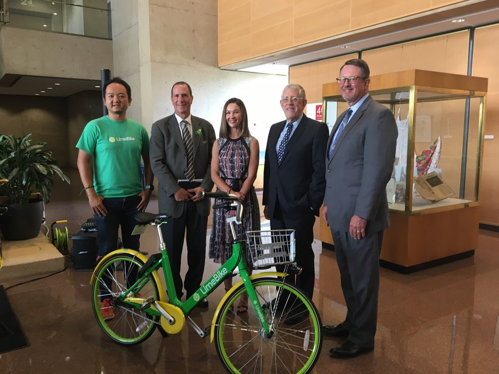 (L to R) LimeBike CEO, Co-founder Toby Sun, Council Member Lee Kleinman, Downtown Dallas, Inc Executive Director Kourtny Garrett, Dallas Park & Recreation Director Willis Winters, and Council Member Philip Kingston at  LimeBike, Downtown Dallas, Inc. and the City of Dallas joint press conference to discuss bike-sharing. Official unlocking ceremony of LimeBike 8/14/2017