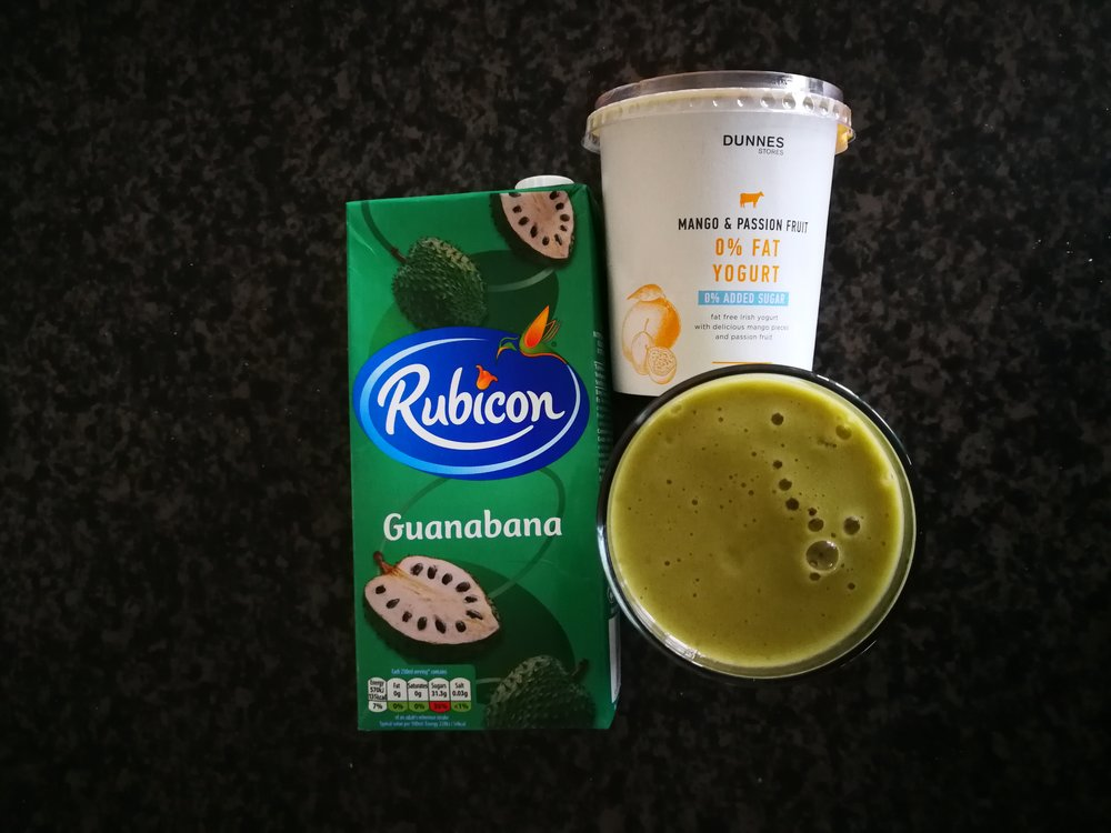 A smoothie is one of the best ways to increase your daily fruit and vegetables. The soursop or guanabana is a fruit I used to harvest from the garden in Hawaii. This juice box is the closest I can get in Ireland.