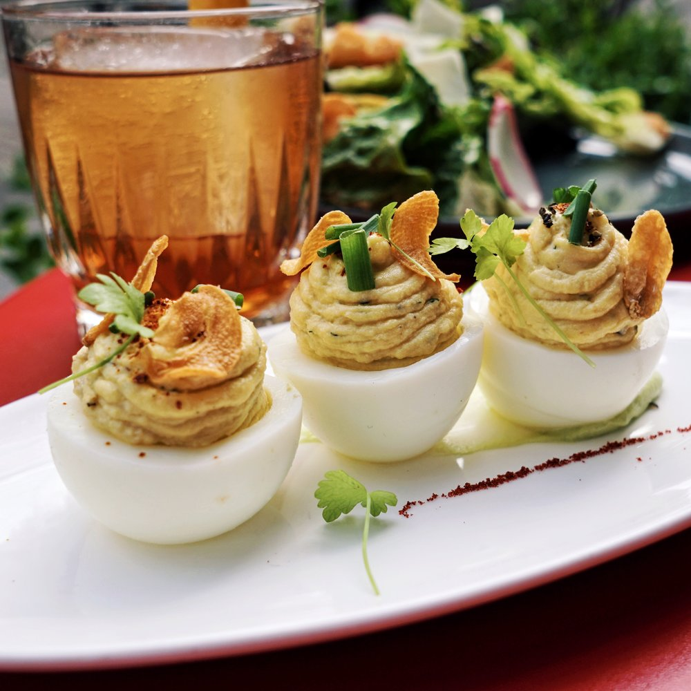 Deviled Eggs, Peektoe Crab, Avocado and Espelette